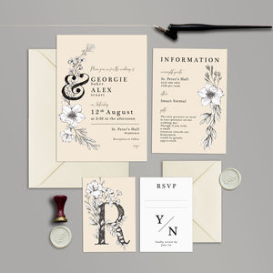 Romantic Ivory Flowers Wedding Invite Collection - invitations