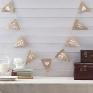 Vintage Style Hessian Burlap Mrs And Mrs Bunting - summer sale