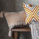 Ochre And Grey Fringed Cushion