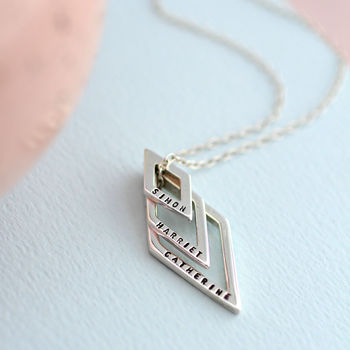 Personalised Family Names Geometric Necklace in 925 Sterling Silver with a black finish on a standard trace chain