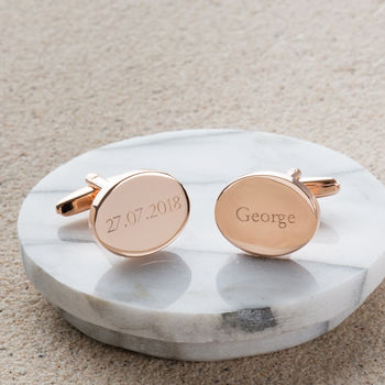 Personalised Rose Gold Oval Cufflinks