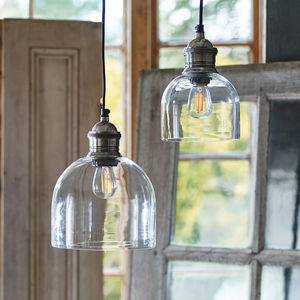 Flori Glass Pendant, Tarnished Silver - pendant lights
