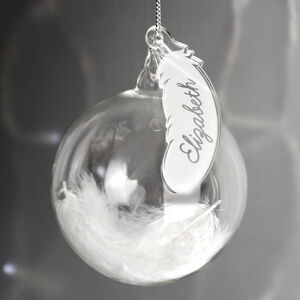 Personalised White Feather Glass Christmas Bauble