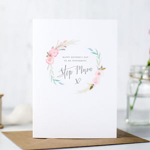 'To My Wonderful Step Mum' Mother's Day Card - mother's day cards & wrap
