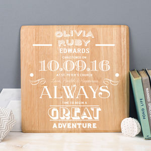 Personalised Christening Wooden Print