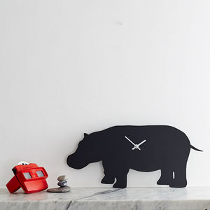 Hippo Clock With Wagging Tail
