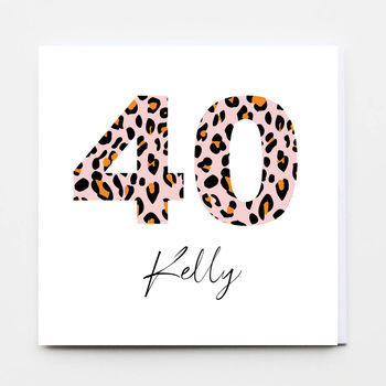 Leopard Happy Birthday Age Greeting Card