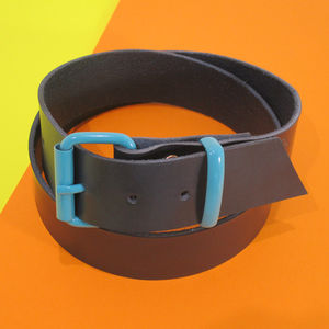 Navy Leather Belt - belts