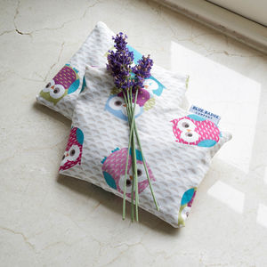 Microwavable Heat Pack Lavender Owls Pattern