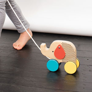 Modern Elephant Wooden Pull Along Toy
