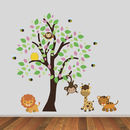 Tree With Jungle Animals And Bees Wall Sticker Set