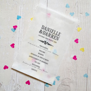 Set Of 10 Personalised 'Order Of Service' Confetti Bags - confetti, petals & sparklers