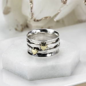 Sterling Silver Mixed Metal Spinning Hearts Ring - gifts for her