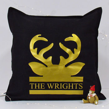 Personalised Stag Antler Cushion