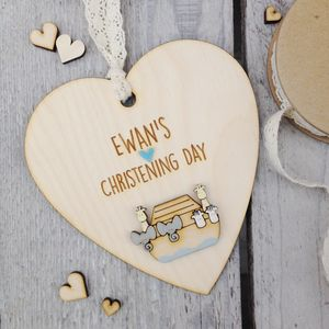 Personalised Noah's Ark Christening Or Baptism Heart