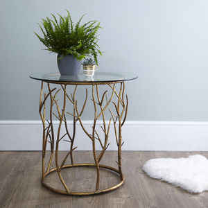 Round Gold Twig Side Table - furniture