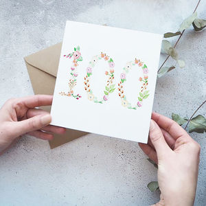 100th Watercolour Floral Card