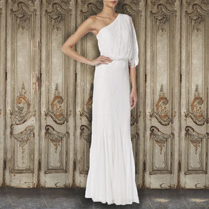 Ivory One Shoulder Evening Gown - wedding dresses