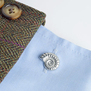 Ammonite Fossil Cufflinks, Fossil Gifts - men's accessories