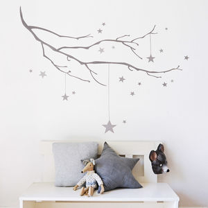 Winter Branch With Stars Fabric Wall Sticker - children's room