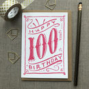 100th Birthday 100th Card Pink Chalk