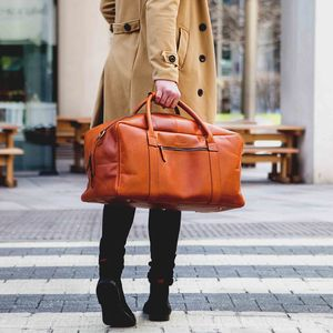 Leather Holdall Travel Bag 'Pioneer' - holdalls & weekend bags