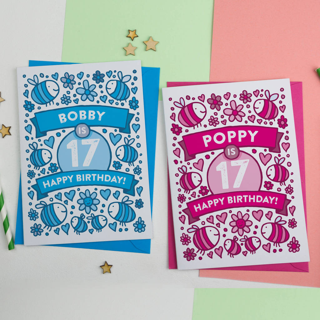 Personalised Bees Illustrated 17th Birthday Card