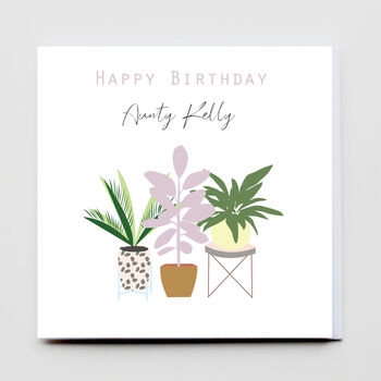 Happy Birthday Personalised Plant Pot Greeting Card