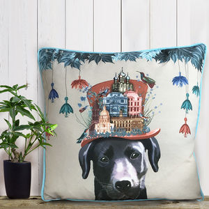Black Labrador Cushion, The Milliners Dogs