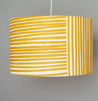 mustard yellow and white stripes pendant ceiling lampshade