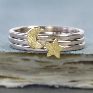 Moon And Star Stacking Ring Set, 18ct Gold - rings