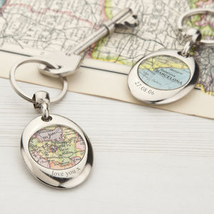 Map Personalised Keyring Circle - mens