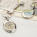 Thumb personalised recycled map silver keyring
