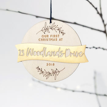 New Home First Christmas Wood And Gold Bauble