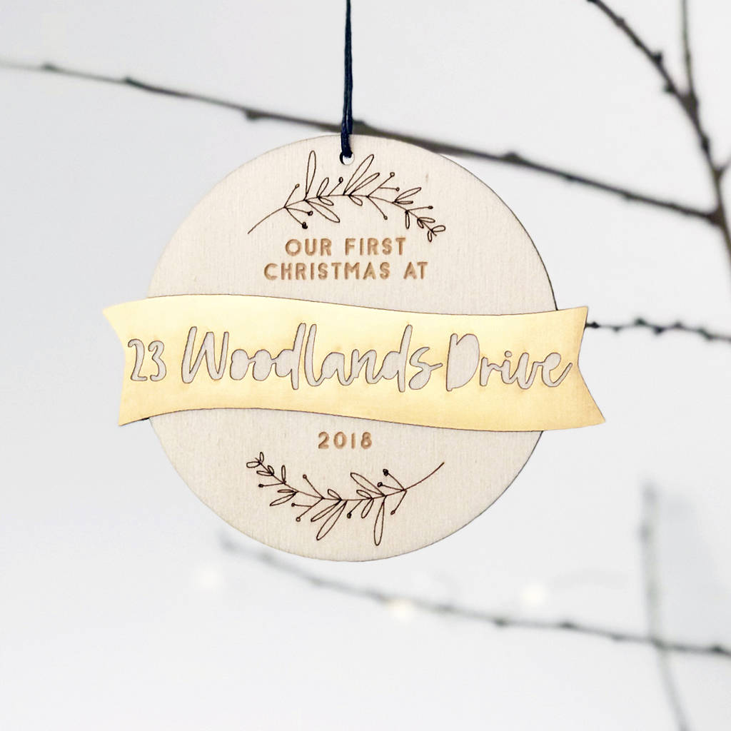 New Home First Christmas Wood And Gold Bauble by Studio Thirty Two