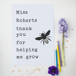 Bee Personalised Teacher Card With Seeds - summer sale