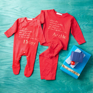 Christmas Eve Pyjama And Babygrow Set - for under 5's