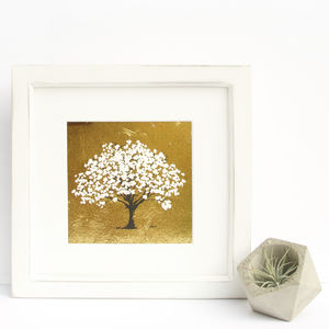 'Spring' Blossom Tree Original Screen Print On Goldleaf