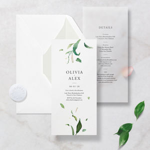 Floral And Translucent Vellum Wedding Invitation