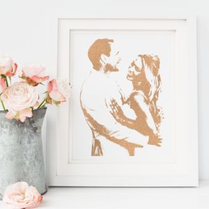 Personalised Wedding Silhouette Foil Photograph - best wedding gifts