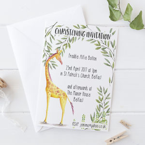 Christening Invitation Giraffe Watercolour
