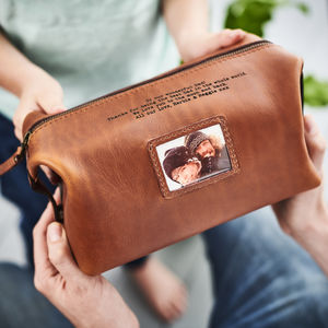 Personalised Leather Wash Bag With Metal Photo