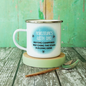 Personalised Adventures With Daddy Enamel Mug - camping