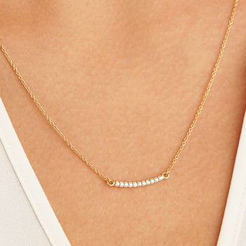 Gold Or Silver Diamond Style Pave Bar Necklace