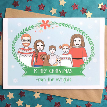 Personalised Family Portrait Christmas Card Or Pack
