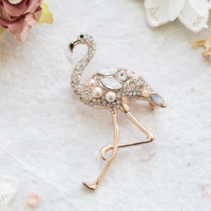 Cindy Flamingo Rose Gold Crystal Brooch