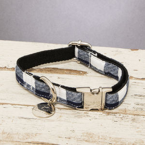 The Anglesey Blue And White Checked Dog Collar - dogs