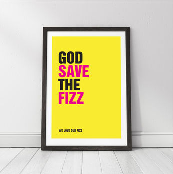'God Save The Fizz' Personalised Champagne Print