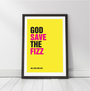 'God Save The Fizz' Personalised Champagne Print - new in prints & art