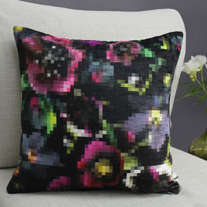 Pixel Floral Geometric Botanical Cushion